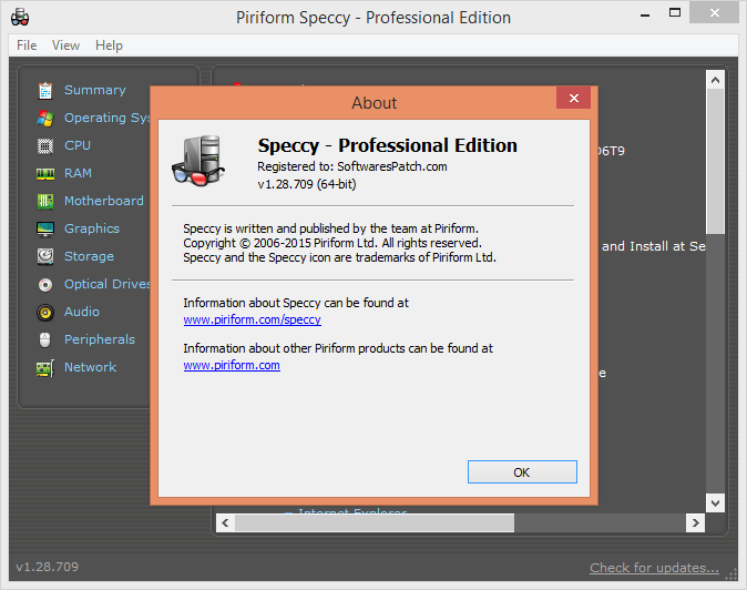 Speccy Piriform Professional 2018 Crack + Portable for MAc + Linux + Windows