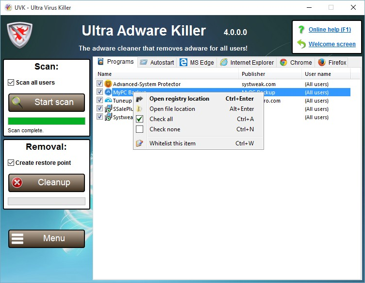 UVK Ultra Virus Killer 2018 For Windows, 7, 8, 10 + MAC